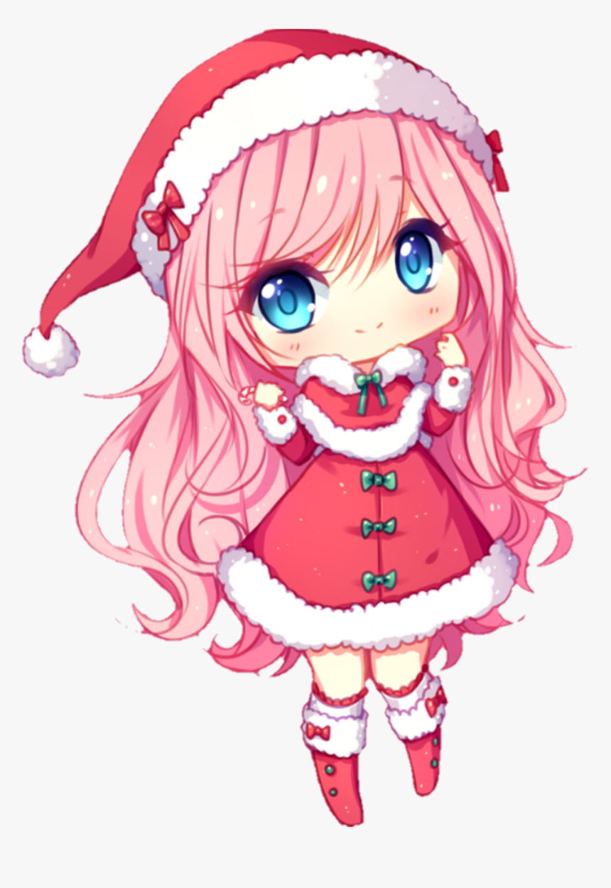 #chibi #christmas #anime #pinkhair #kawaii - Anime Chibi Png Hd, Transparent Png, Free Download