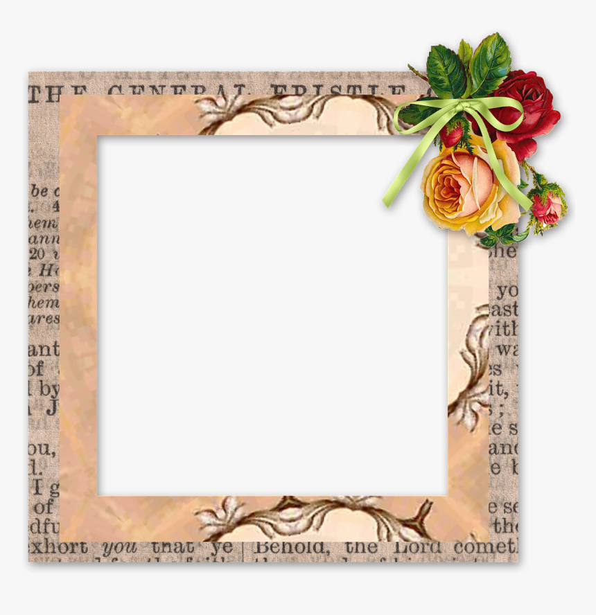 Scrapbook, Element, Frame, Tag, Cluster, Flowers - Picture Frame, HD Png Download, Free Download