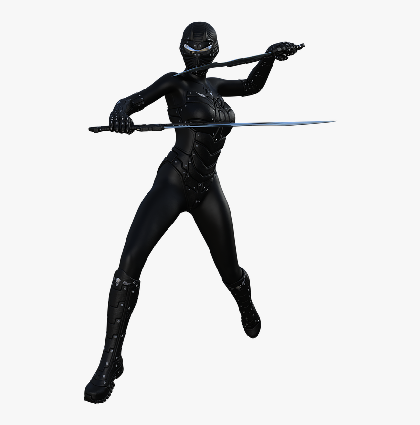 Ninja Warrior Character Free Picture - Female Ninja Silhouette, HD Png Download, Free Download