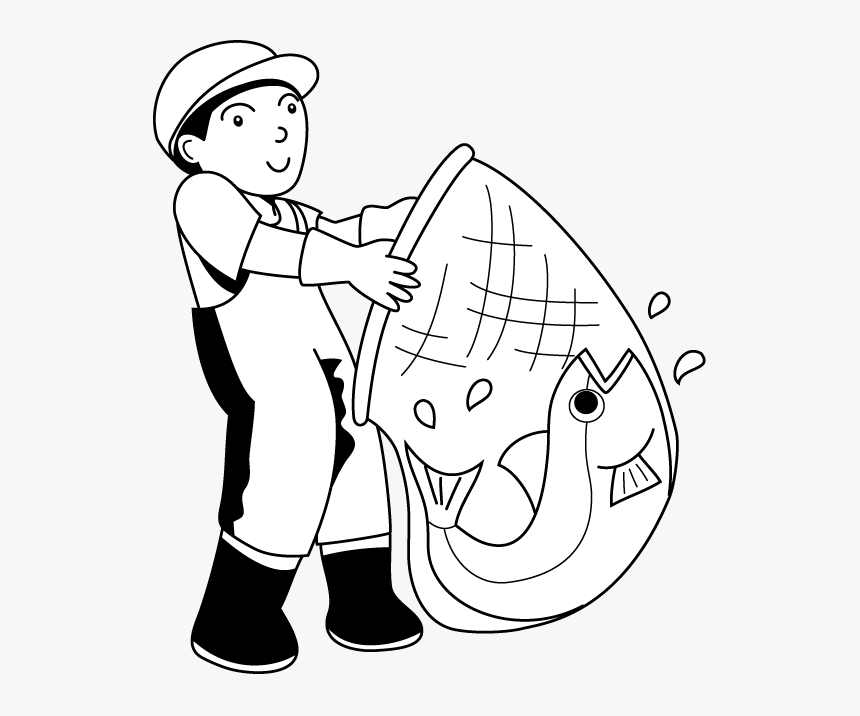 Transparent Fishing Clipart Black And White - Clip Art Black And White Fisherman, HD Png Download, Free Download