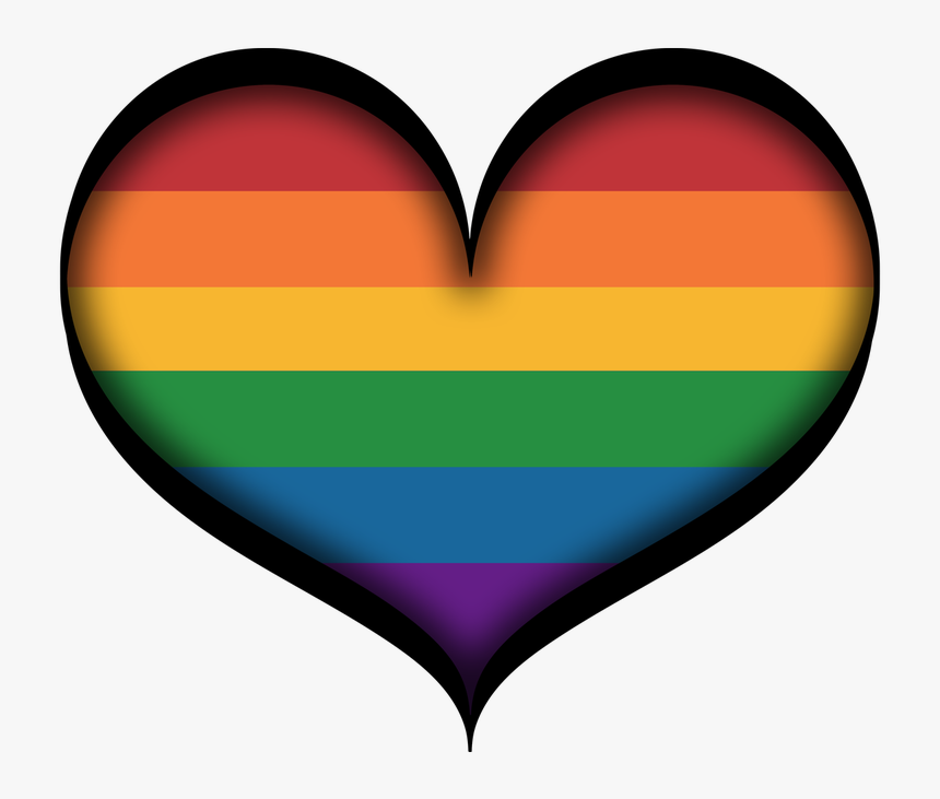 Large Gay Pride Heart In Lgbt Rainbow Colors With Black - Pride Lgbt Rainbow Colors, HD Png Download, Free Download