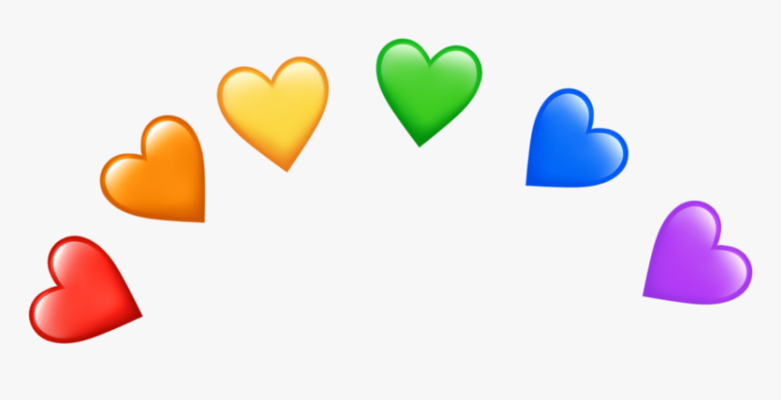 #rainbow #heart #hearts #emojiheart #emojihearts #heartemoji - Rainbow Heart Emoji Png, Transparent Png, Free Download