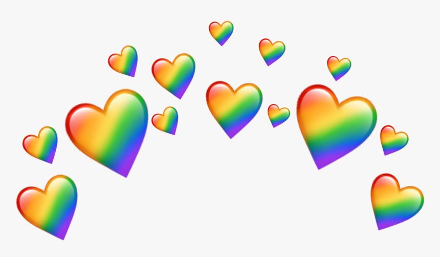 Transparent Crown Emoji Png - Rainbow Heart Crown Png, Png Download, Free Download