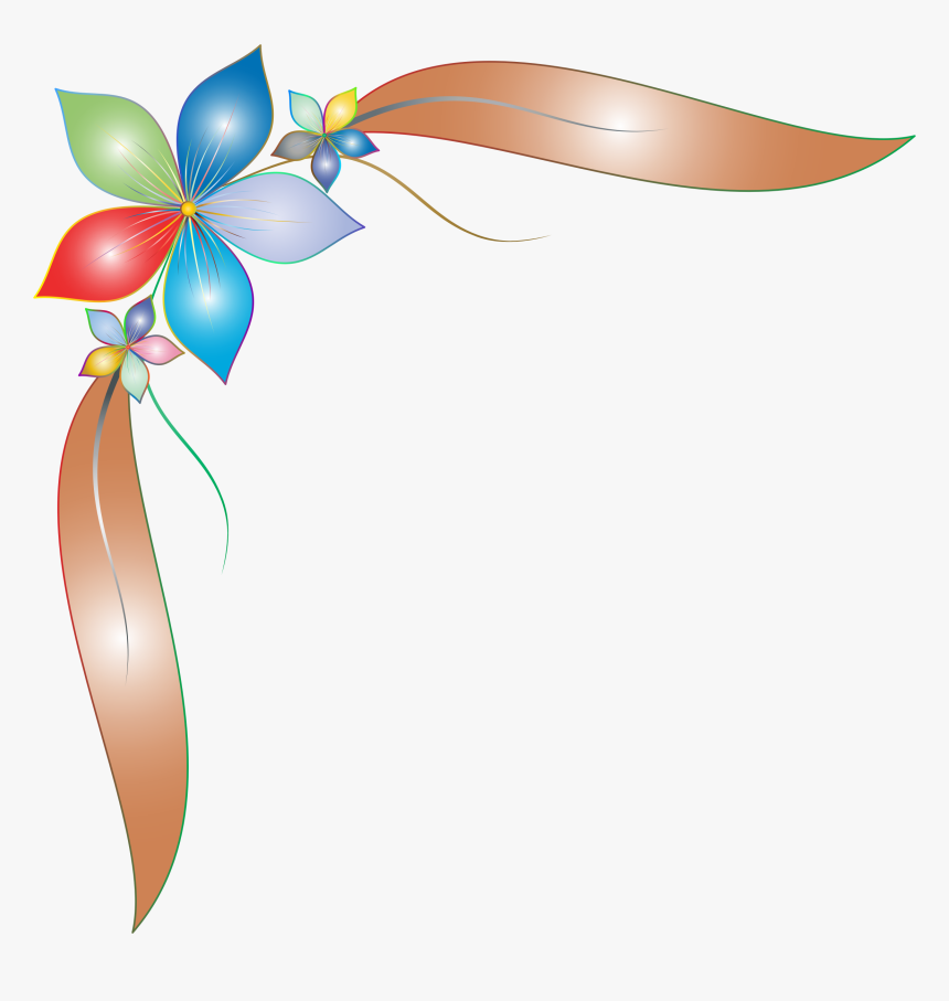 This Free Icons Png Design Of Prismatic Simple Corner - Simple Flower Border Design, Transparent Png, Free Download