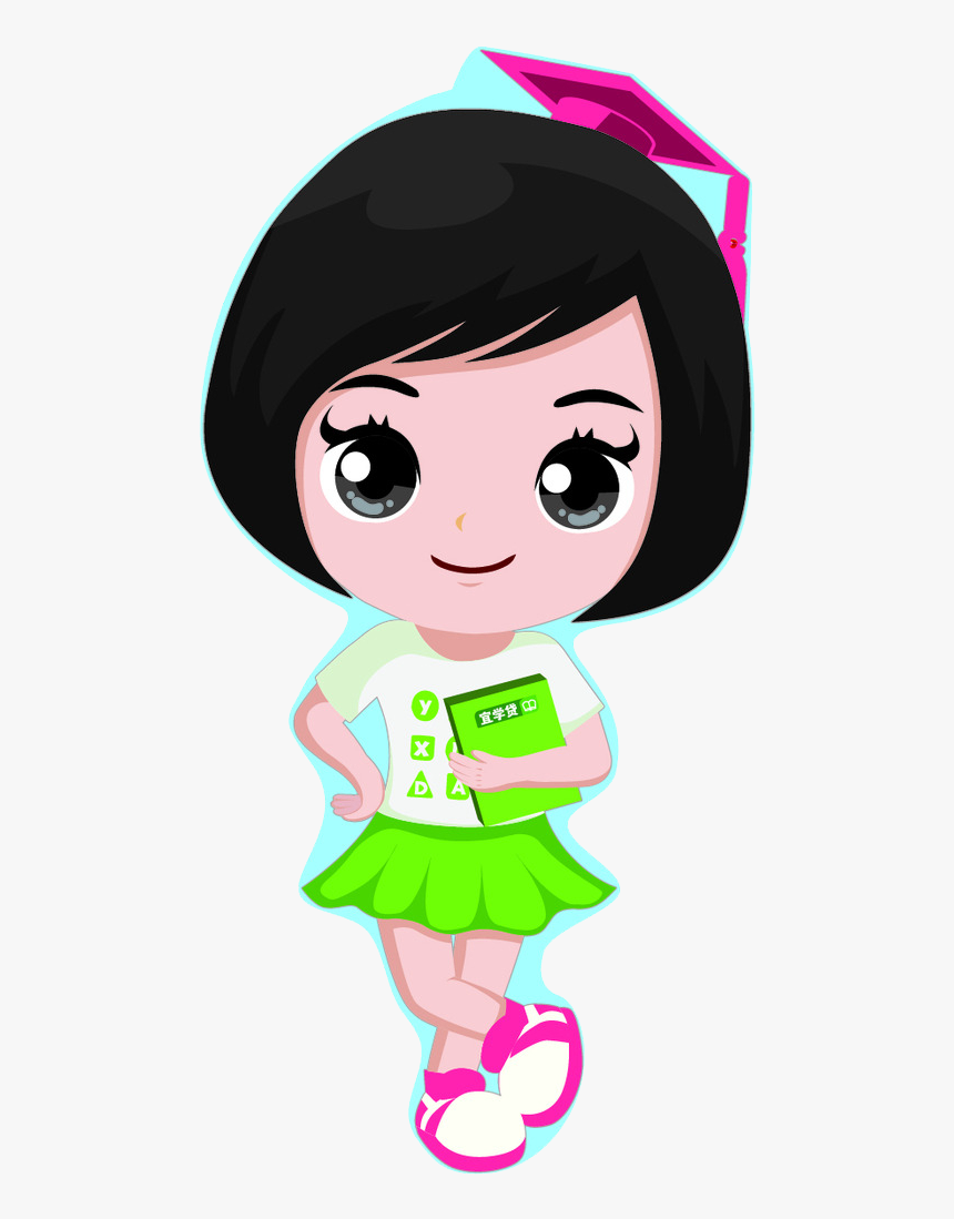 Girls With Short Hair - Cartoon Girl With Short Black Hair, HD Png Download, Free Download