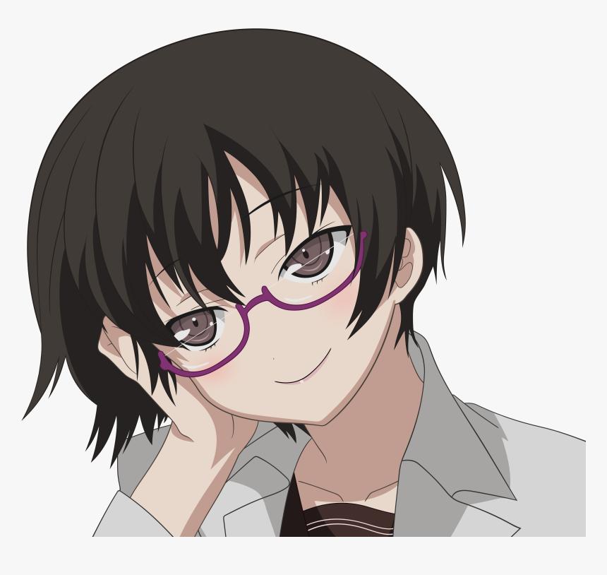 Brunettes, Glasses, Brown Eyes, Transparent, Meganekko, - Short Hair Megane Girl Anime, HD Png Download, Free Download