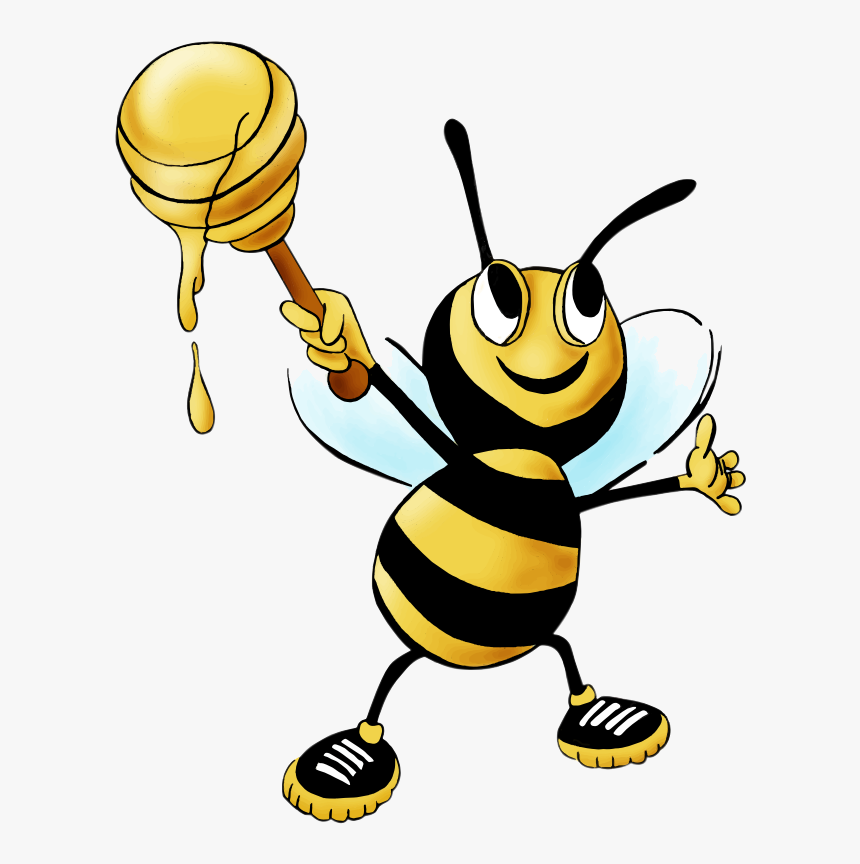 Bee Honey Clipart Drawing Free Cliparts Transparent - Clip Art Honey Bee Cartoon, HD Png Download, Free Download