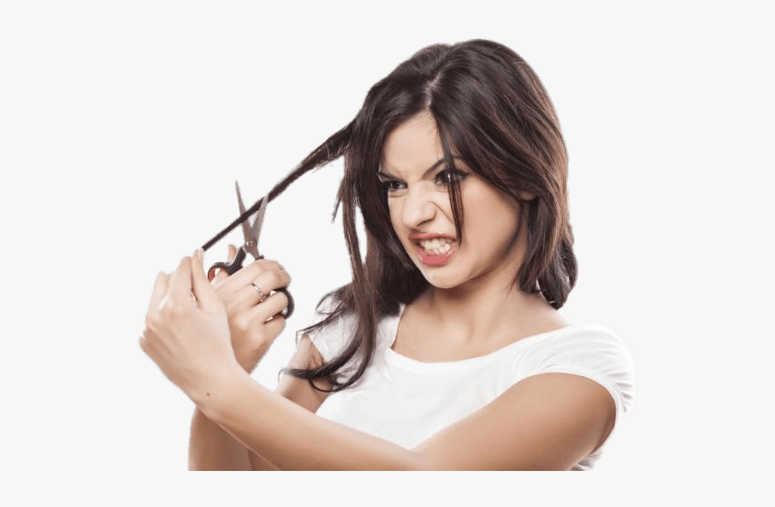 Hair Cutting Angry - Woman Cutting Her Hair, HD Png Download, Free Download