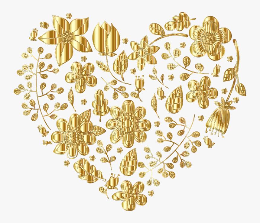 Gold Floral Heart Variation 2 No Background - Big Gold Heart Background, HD Png Download, Free Download