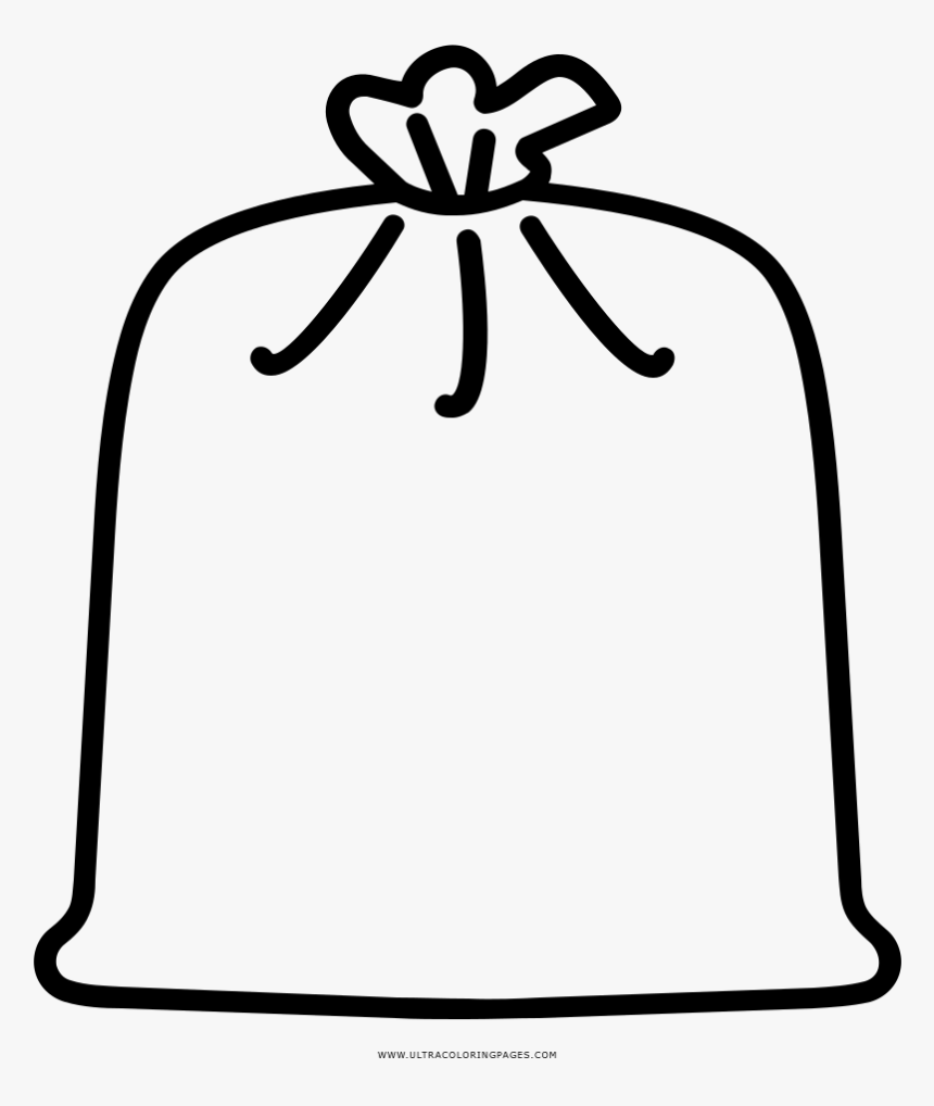 Garbage Bag Coloring Page - Trash Bag Clipart Black And White, HD Png Download, Free Download