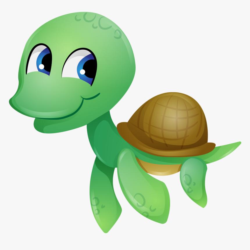 Tortoise Sea Turtle Reptile Clip Art - Cartoon Cute Transparent Sea Turtle, HD Png Download, Free Download