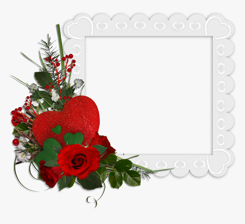 Beautiful White Transparent Frame With Hearts And Red - Beautiful Rose Flower Frames, HD Png Download, Free Download