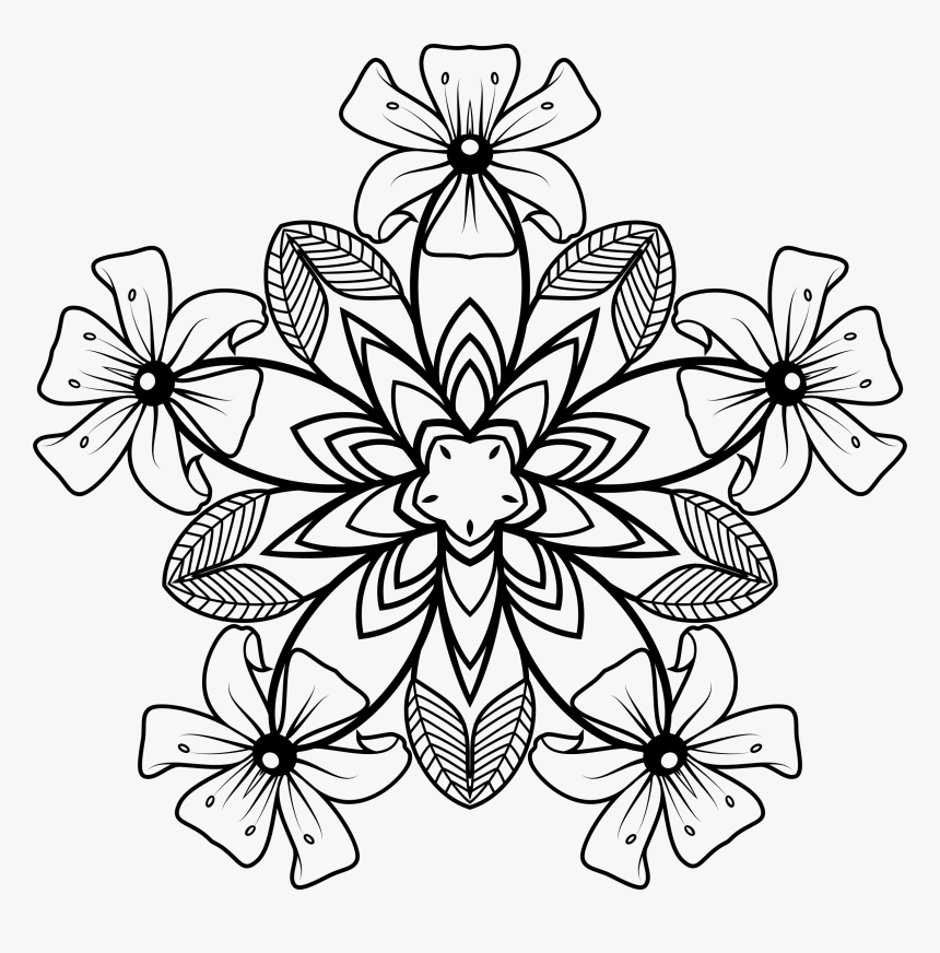 Transparent Florals Png - Flower Clipart Design Black And White Free, Png Download, Free Download