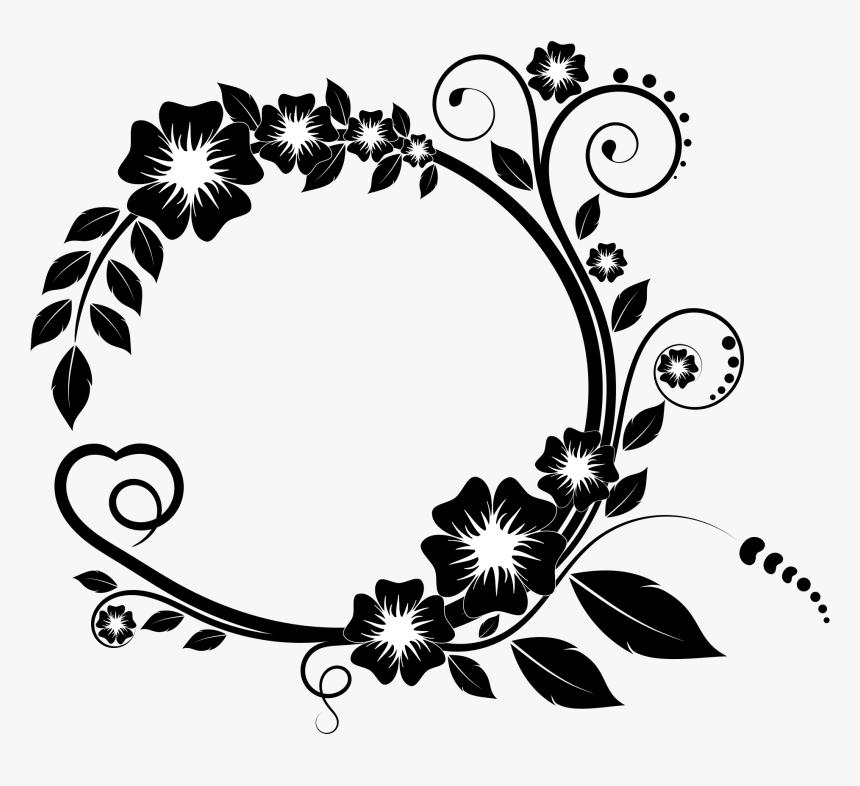 Frames Svg Flower - Flower Black And White Border Design, HD Png Download, Free Download