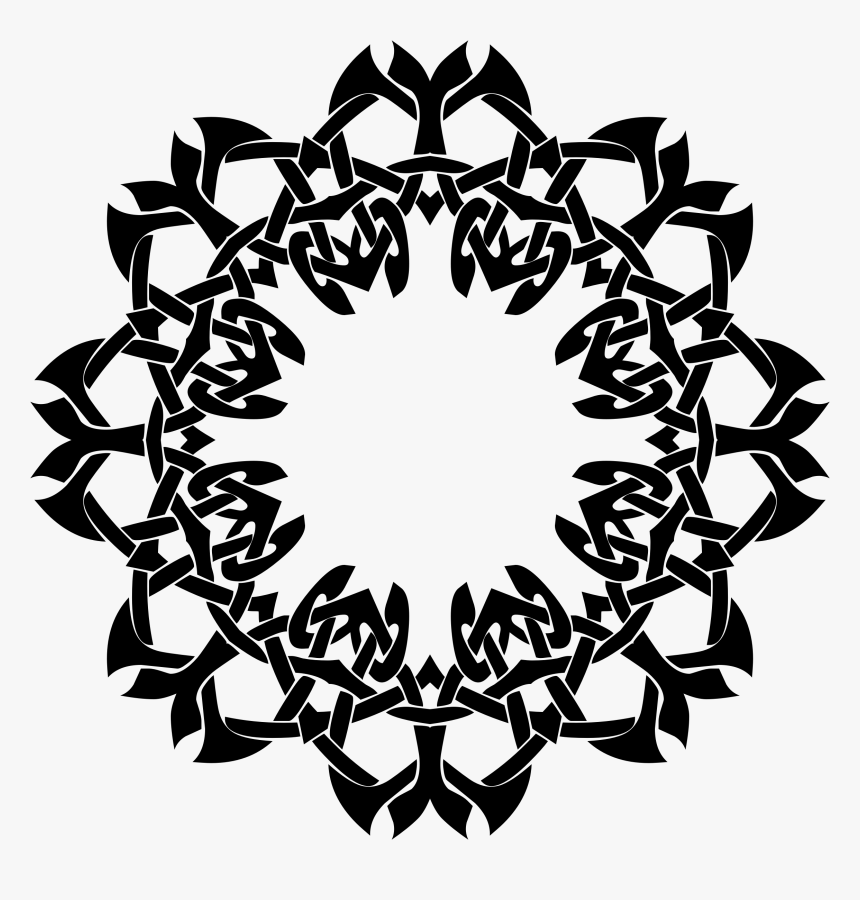 Black And White Frame 5 Clip Arts - Design Bunga In Circle, HD Png Download, Free Download