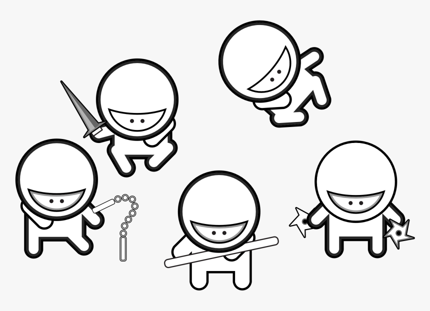 Ninja Coloring Pages For Adults - Cute Ninja Coloring Pages, HD Png Download, Free Download
