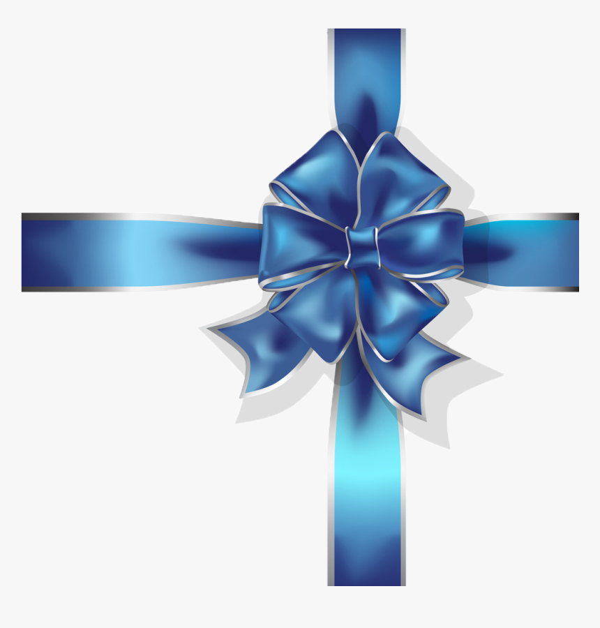 Blue Ribbon Gift - Cross With Ribbon Blue Png, Transparent Png, Free Download