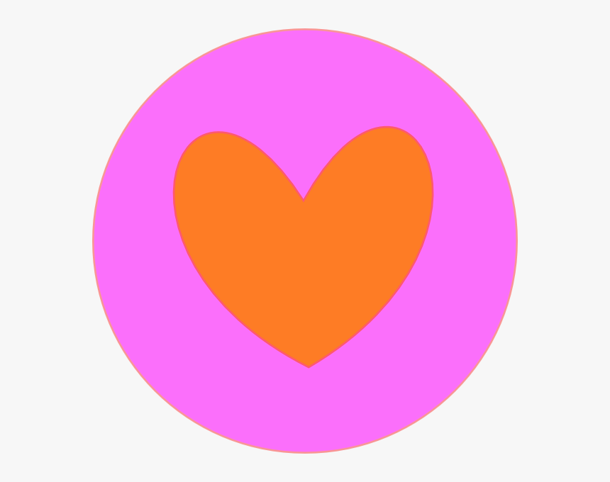 Heart In Circle Orange Svg Clip Arts - Orange And Pink Heart, HD Png Download, Free Download