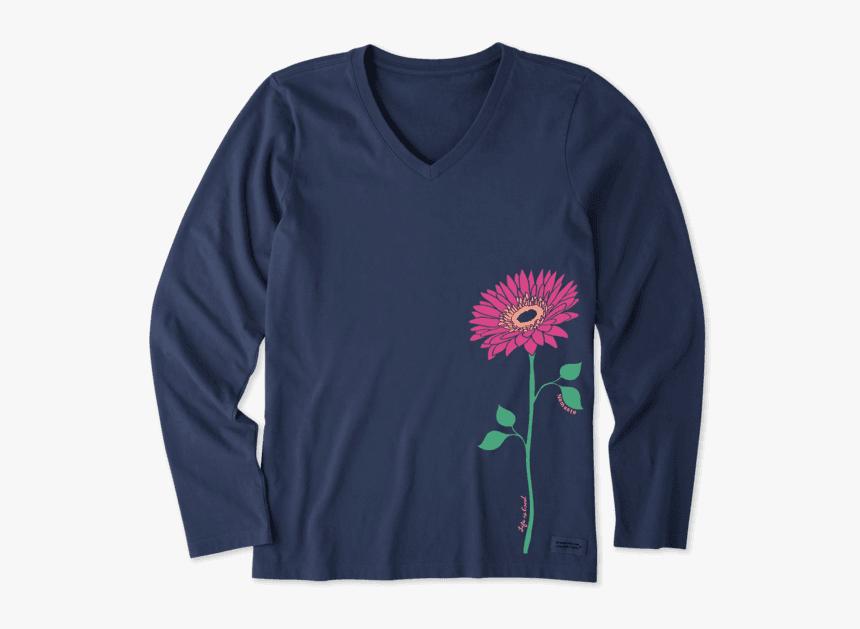"Women""s Namaste Daisy Long Sleeve Crusher Vee - Halloween Shirts, HD Png Download, Free Download"