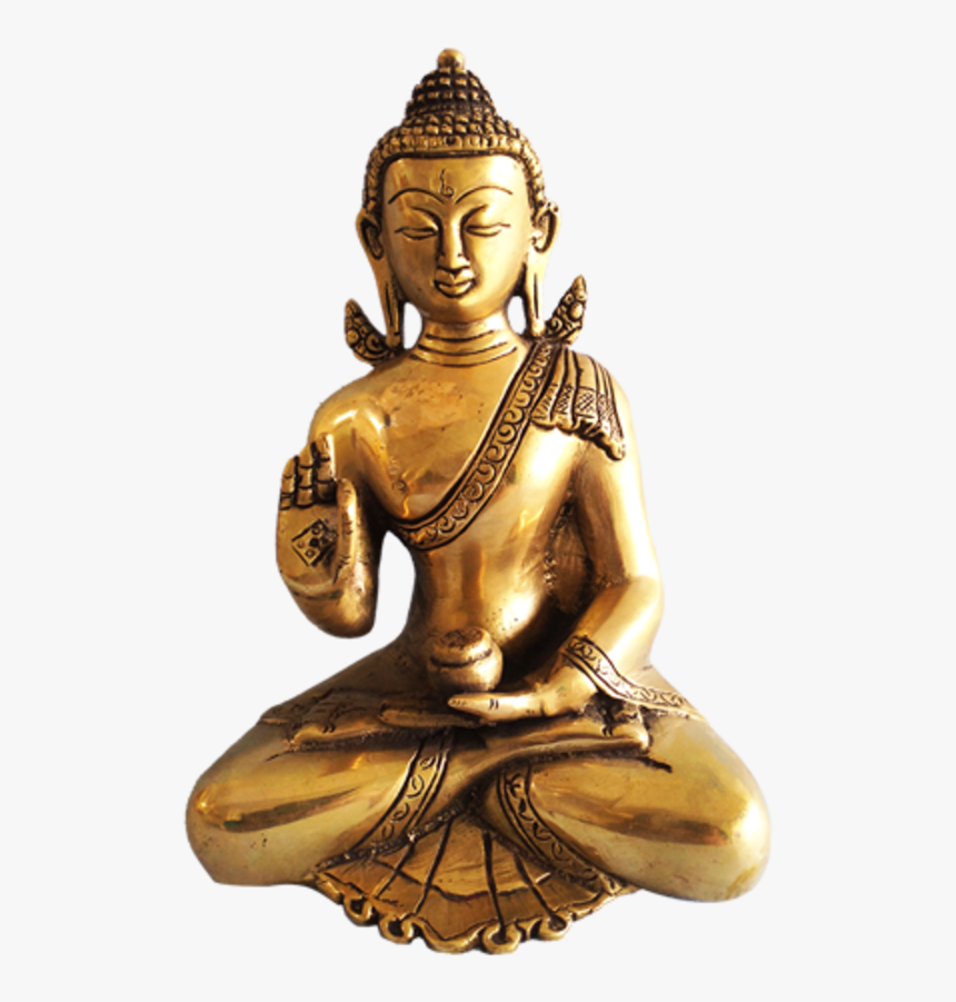 Golden Meditating Buddha Brass Statue, 5 X 9 Inch, - Statue, HD Png Download, Free Download