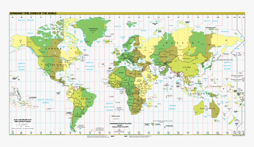 Fileworld Time Zones Map - Map Of The World, HD Png Download ...
