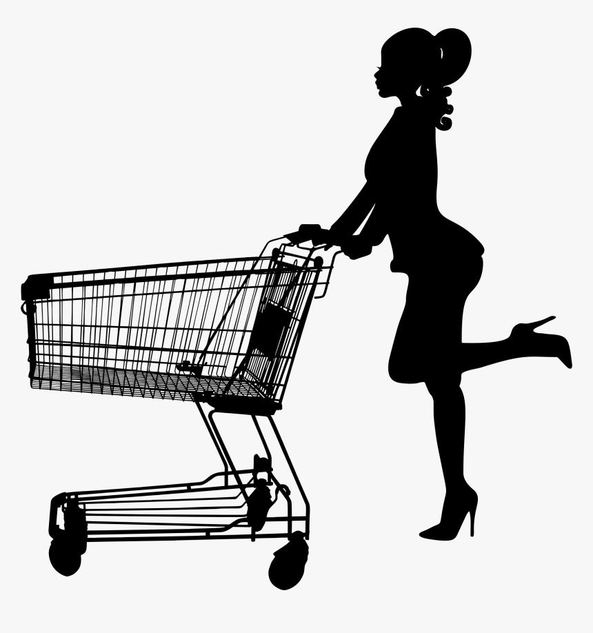 Professional Woman Pushing Shopping Cart - Woman Pushing Shopping Cart Silhouette, HD Png Download, Free Download