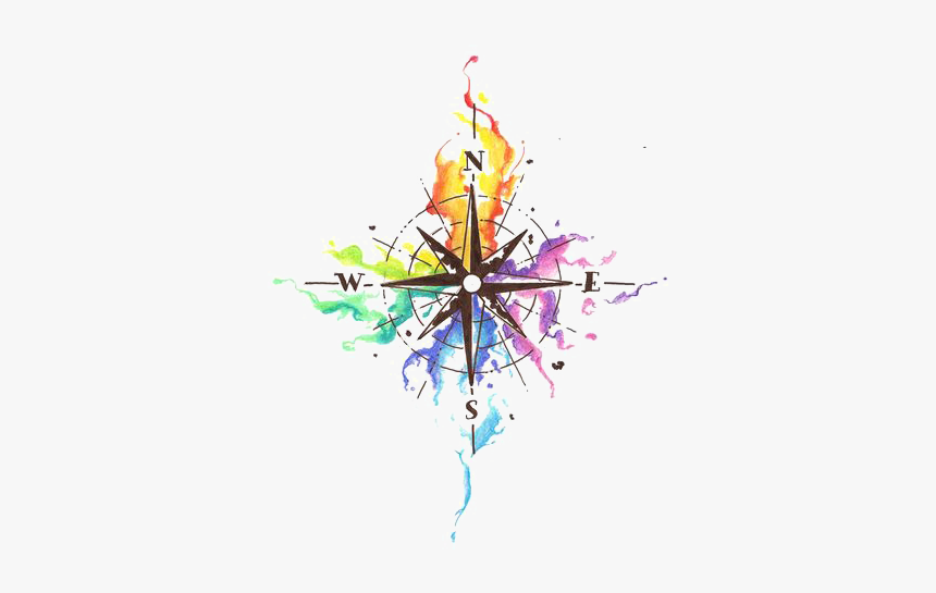 Coming Soon Png Colorful - Compass Tattoo Design Watercolor, Transparent Png, Free Download