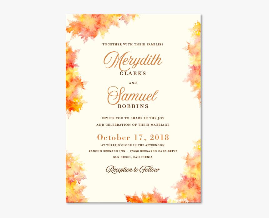 Fall Wedding Invitations Christmas Card Hd Png Download