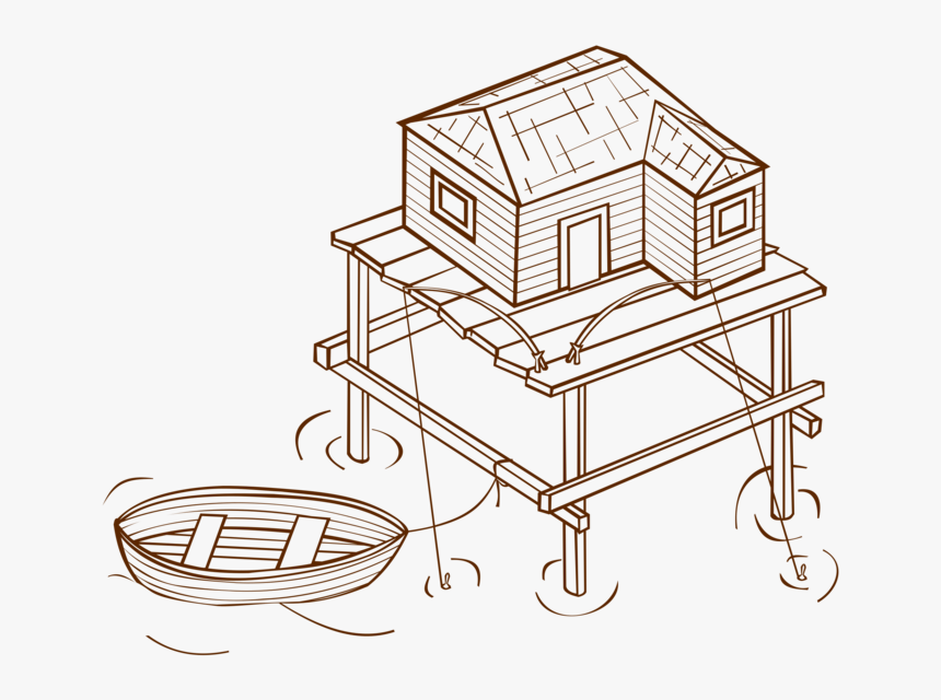 Drawing Line Art House Symbol Computer Icons Cc0 - Stilt House Clip Art Black & White, HD Png Download, Free Download