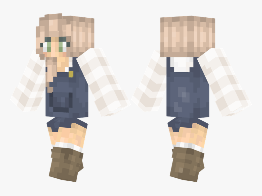 Girl With Overalls Minecraft Skin, HD Png Download, Free Download