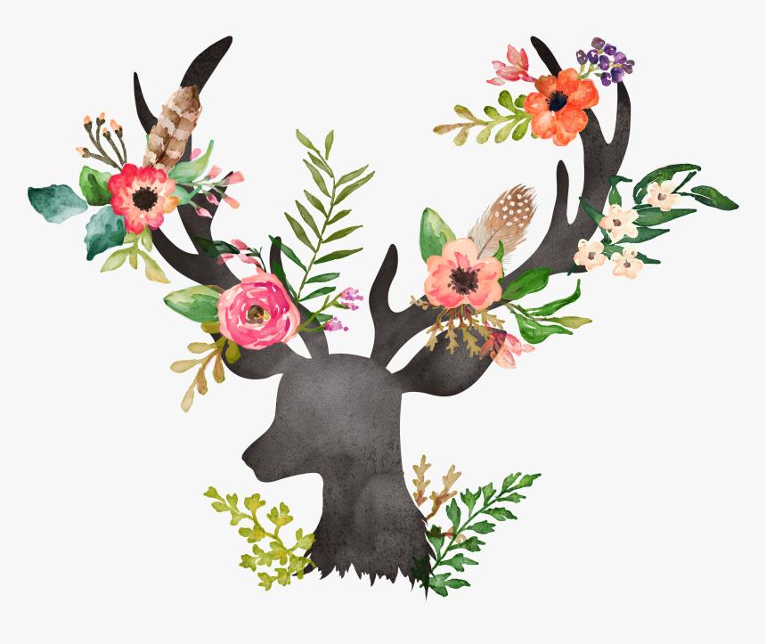 Deer Flower Painting Watercolor Painting Drawing Watercolor Flowers With Deer Hd Png Download Kindpng