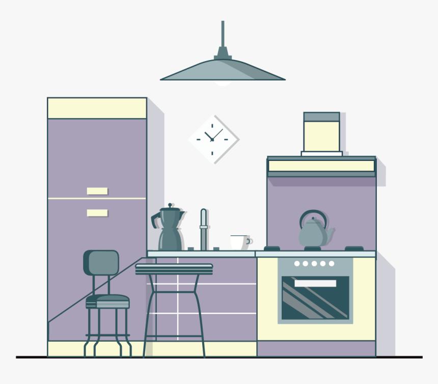 Kitchen Clipart Living Room - Phòng Bếp Hoạt Hình, HD Png Download, Free Download