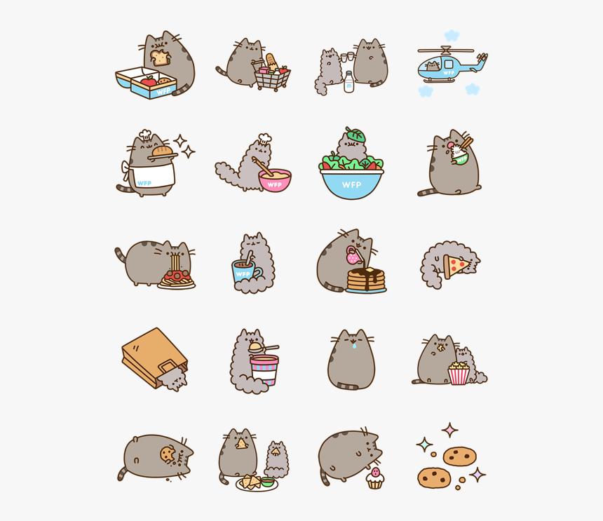 Clip Art Pusheen Eats Stickers Emoticon - Pusheen Eats Stickers, HD Png Download, Free Download