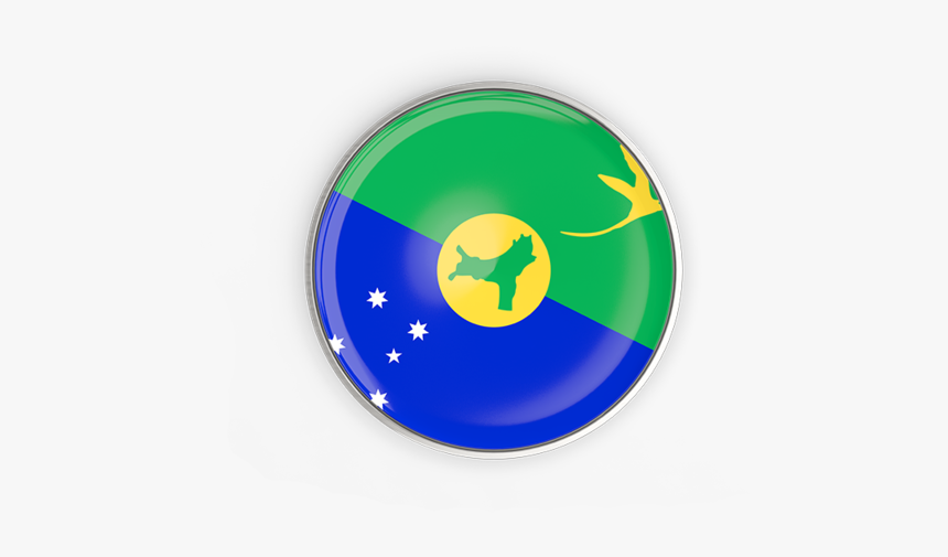 Round Button With Metal Frame - Christmas Island Round Flag Png, Transparent Png, Free Download