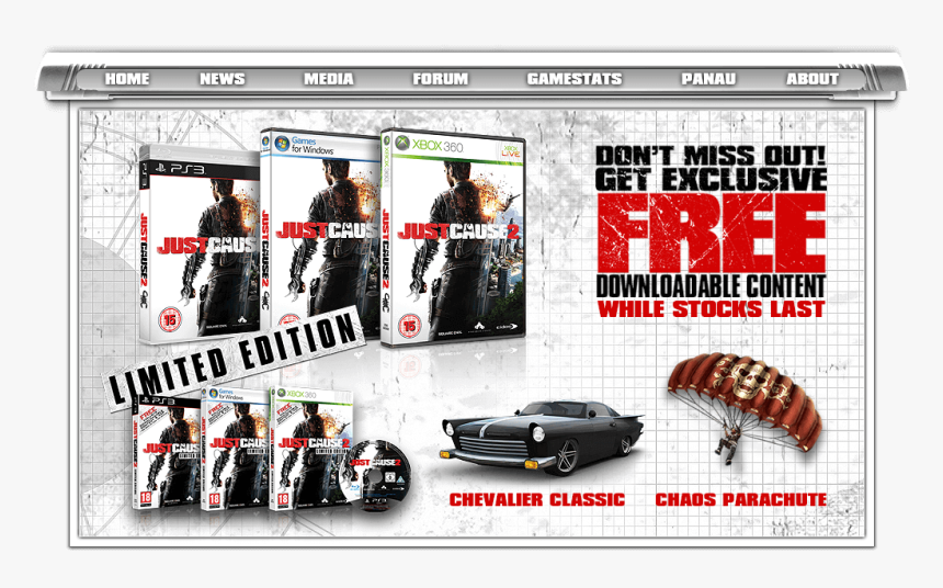 Square Enix Just Cause 2 Website Exclusive Downloadable - Just Cause 2 Cover, HD Png Download, Free Download