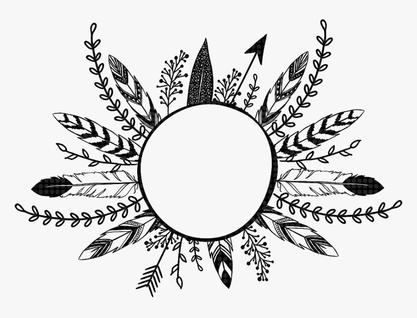 #feathers #arrow #flowers #leaves #frame #border #divider - Feathers And Arrow In Round, HD Png Download, Free Download