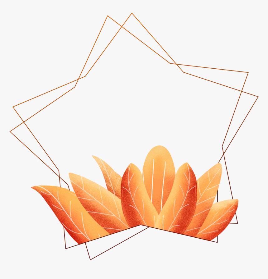 Hand Painted Border Coral Orange Leaves Plants Png - Paint Border Png, Transparent Png, Free Download