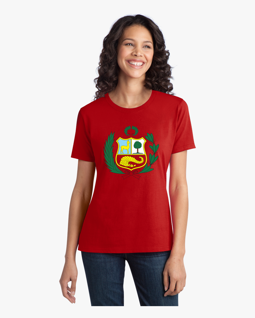 Ladies Red Peruvian Coat Of Arms Flag - Shirt Coach, HD Png Download, Free Download
