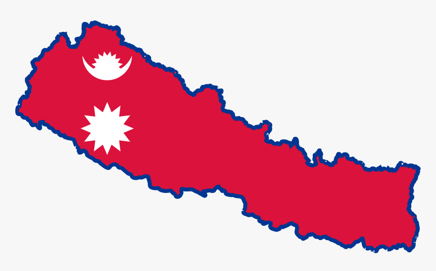 7 Flag Of Nepal Clip Art - Nepali Map With Flag, HD Png Download, Free Download