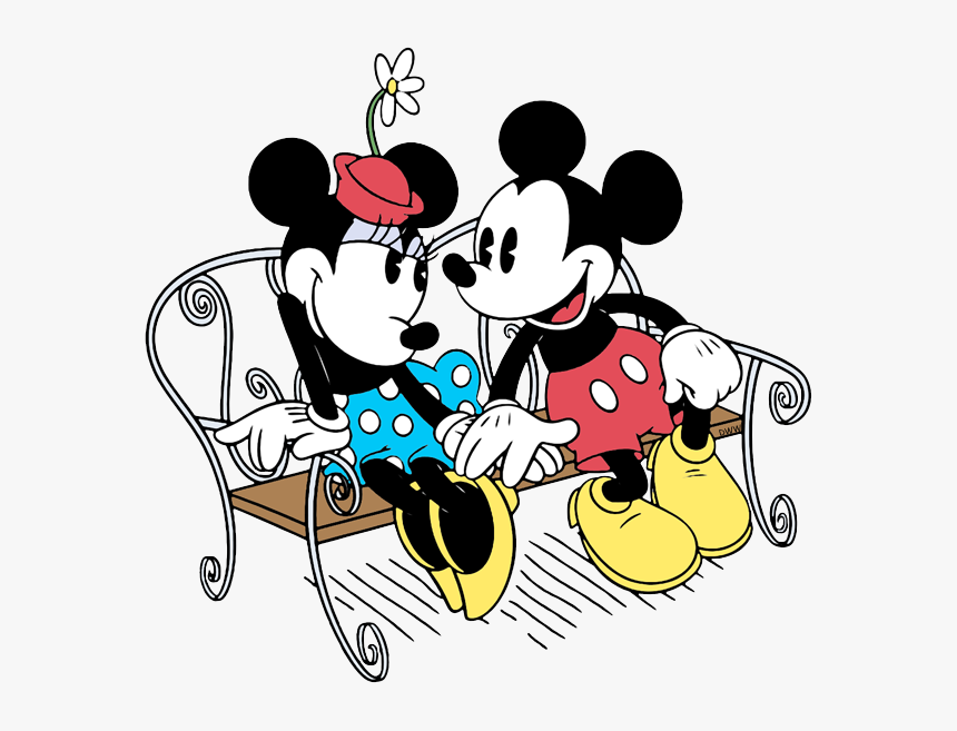 Mickey Mouse And Minnie Mouse On A Bench, HD Png Download, Free Download