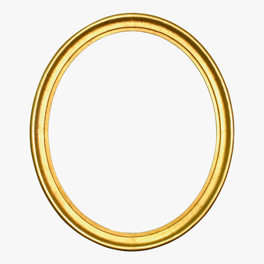 Oval Gold Circle Picture Frames Silver - Golden Round Frame Png, Transparent Png, Free Download