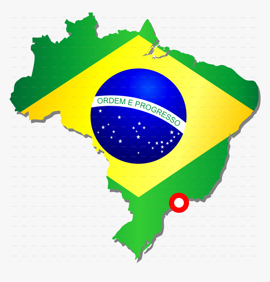 G Brazil Map With Flag Png - Map And Flag Of Brazil, Transparent Png, Free Download