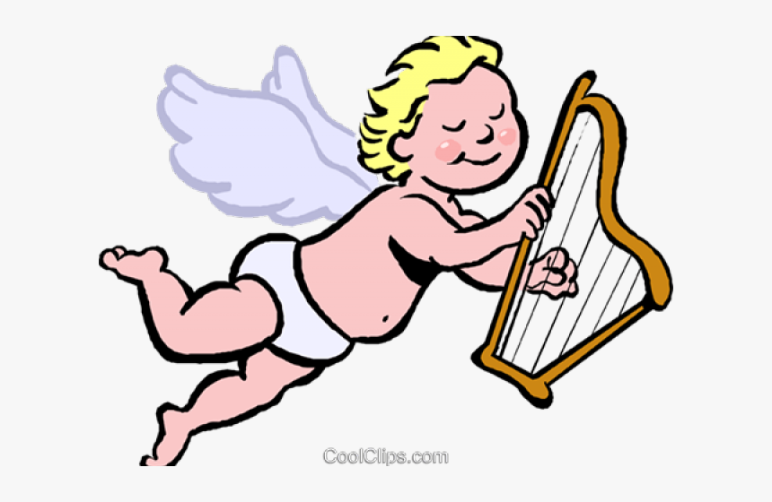 Harp Clipart Cupid - Angel Playing Harp Cartoon, HD Png Download, Free Download