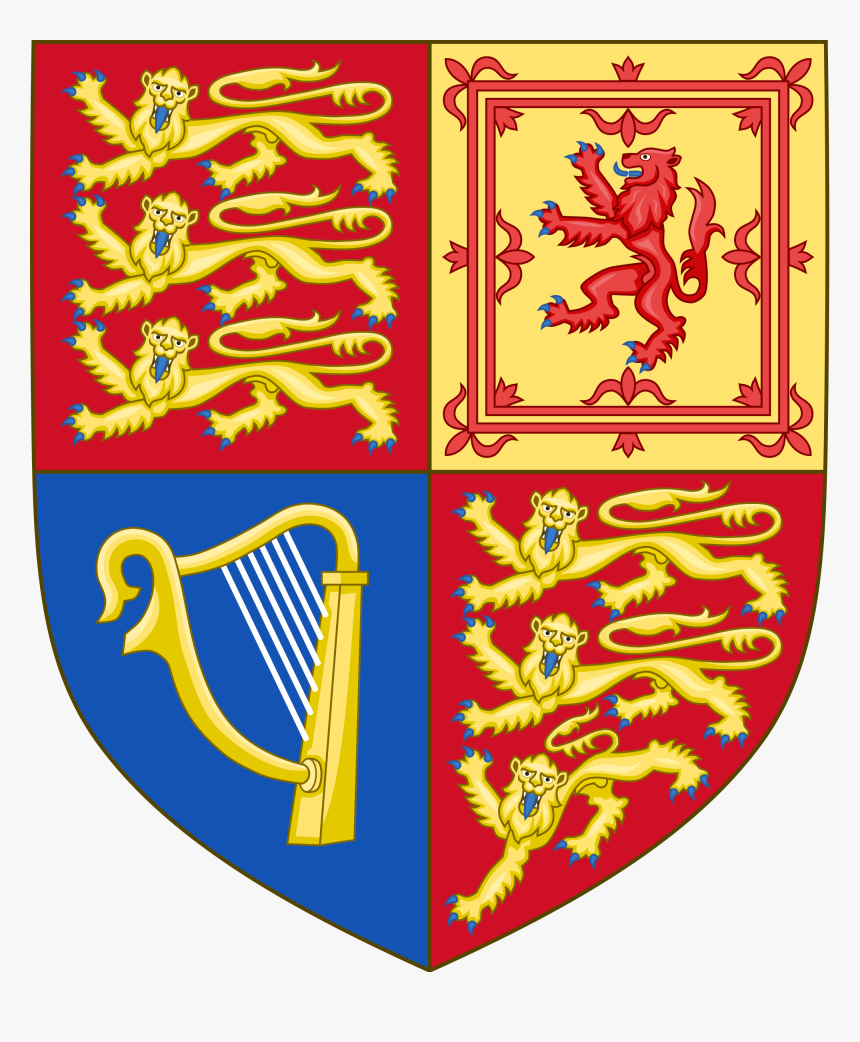 Arms Of The United Kingdom Royal Irish Harp Of Tara - Uk Coat Of Arms Shield, HD Png Download, Free Download