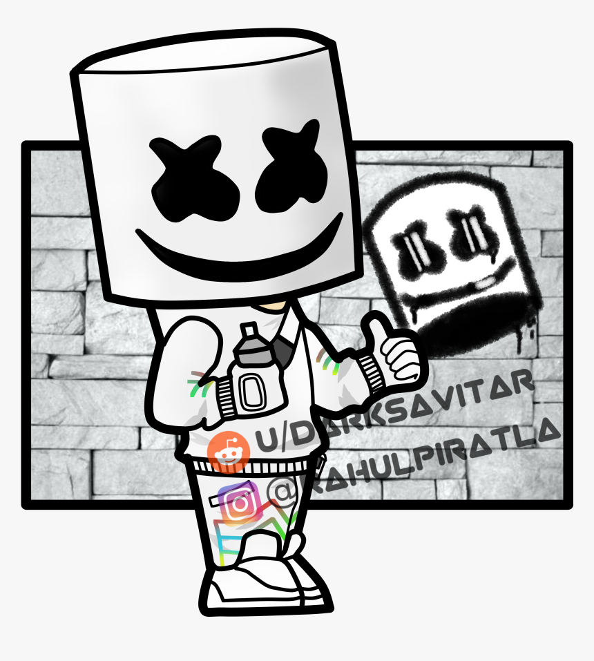 Marshmello Fortnite Skin Drawing, HD Png Download, Free Download