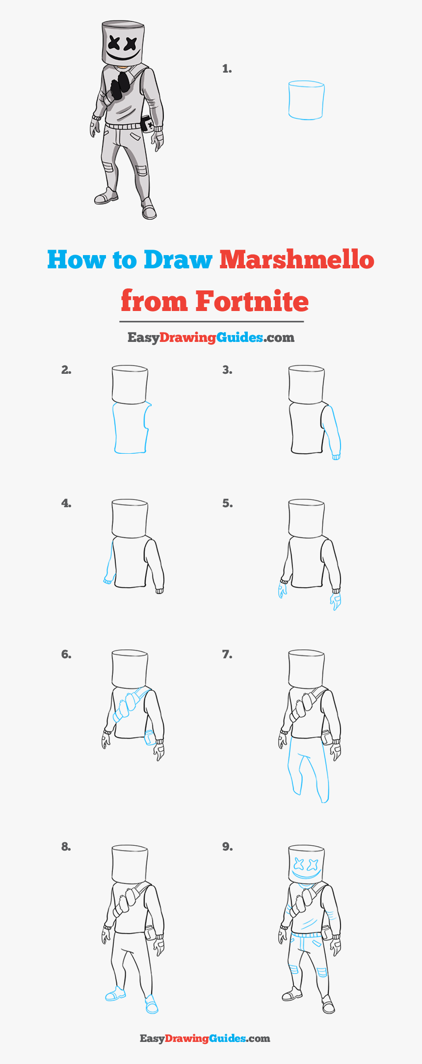 How To Draw Marshmello From Fortnite - Mother And Daughter Drawing Step By Step, HD Png Download, Free Download