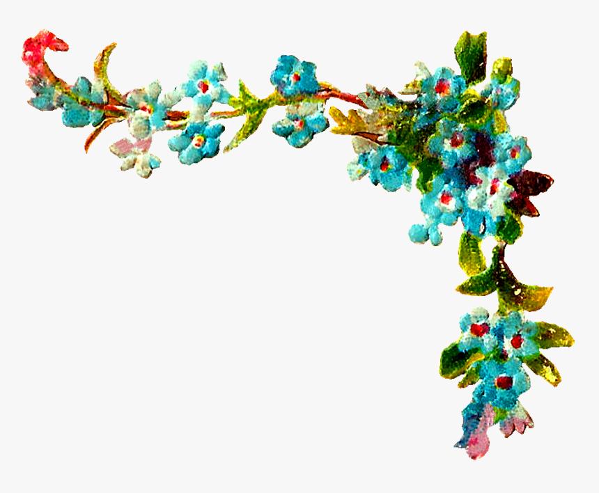 Wildflower Clip Art - Floral Corner Design Clipart, HD Png Download, Free Download