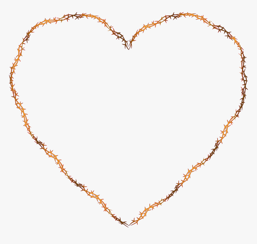 Red Heart Of Thorns Clip Arts - Brown Heart Outline Png, Transparent Png, Free Download