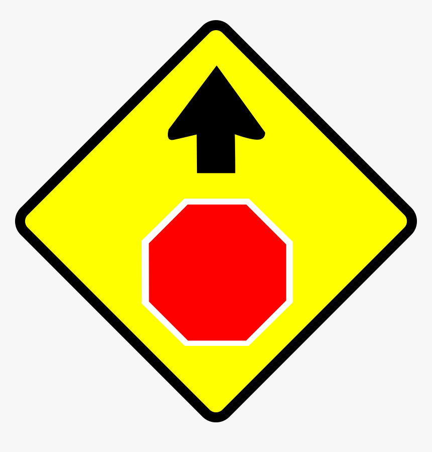 Caution-stop Sign Clip Arts - Stop Sign Ahead Sign, HD Png Download, Free Download