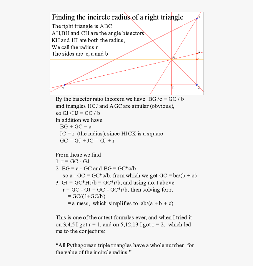 Incircle Radius With Text - Incircle Of Right Angled Triangle Proof, HD Png Download, Free Download